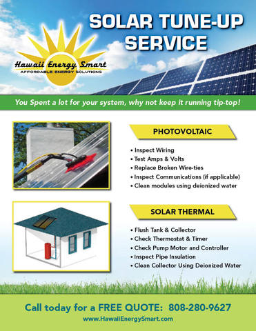 Hawaii Energy Smart Solar Tune Up Flyer