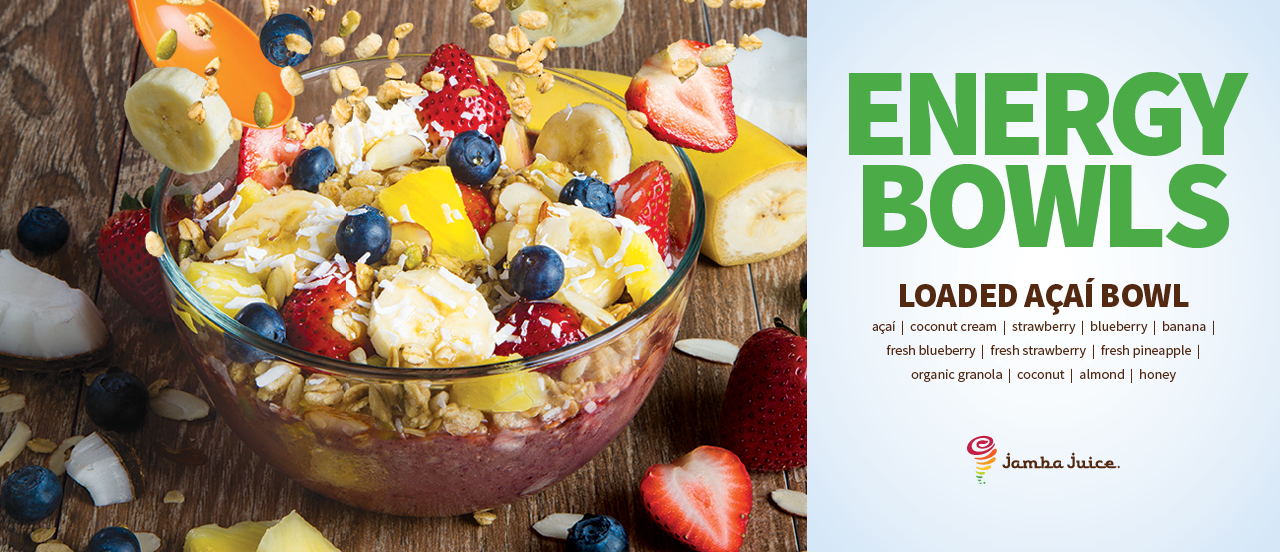 Hawaiian Energy Bowls, New Delicious Fresh Toppings, Chunky Strawberry Bowl, Acai Primo Bowl